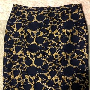 Jcrew Factory Pencil skirt Navy and Gold Sz 14 NWT